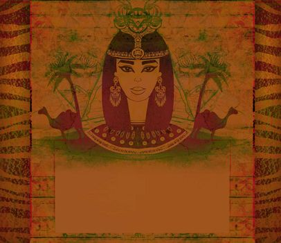 old paper with Egyptian queen - artistic frame