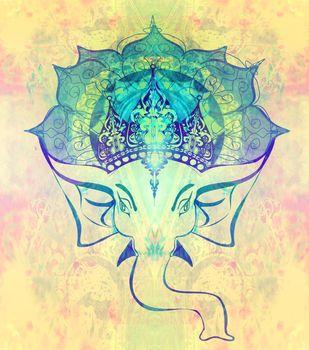 Hindu Lord Ganesha over ornate mandala