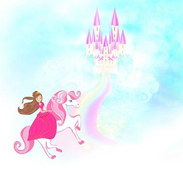 Lovely princess on a unicorn flying on a rainbow