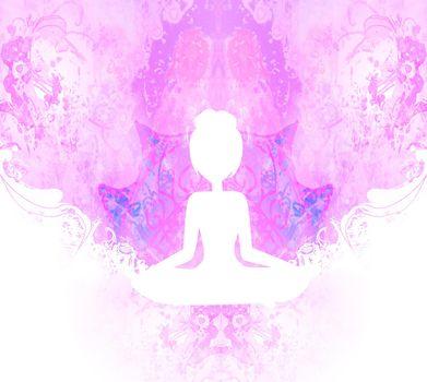 Yoga and Spirituality, abstract ornamental card