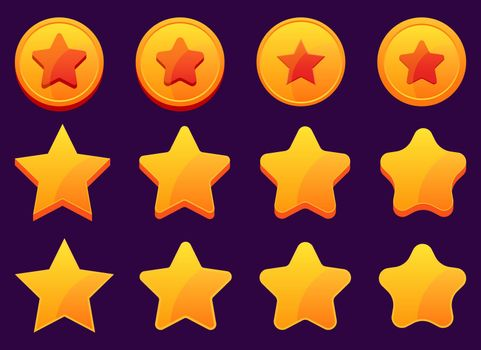Mobile game golden stars vector design illustration isolated on background