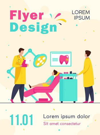 Dentist examining boy in dental chair. Doctor, tooth, visit flat vector illustration. Stomatology and dentistry concept for banner, website design or landing web page