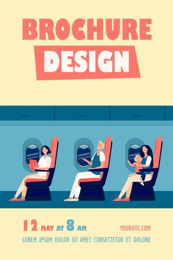 Happy airplane passengers sitting on their seats