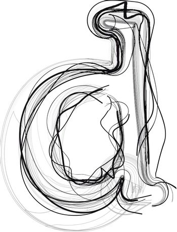 Abstract Doodle Letter d
