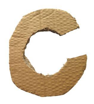 Cardboard texture Letter C