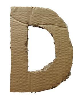 Cardboard texture Letter D