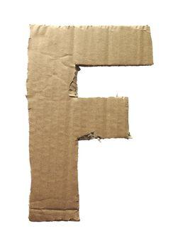Cardboard texture Letter F