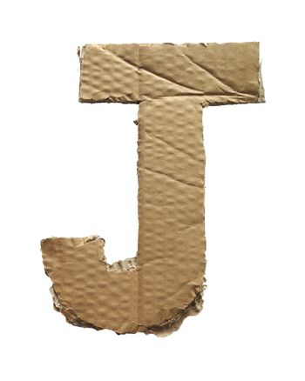 Cardboard texture Letter J