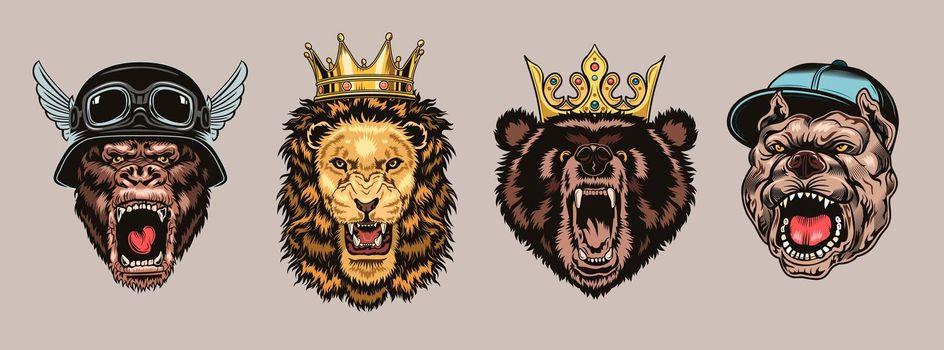 Animal angry characters set