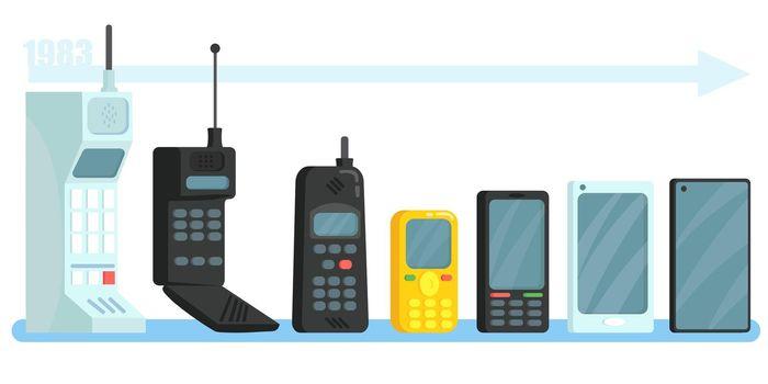 Cellphones different generations set