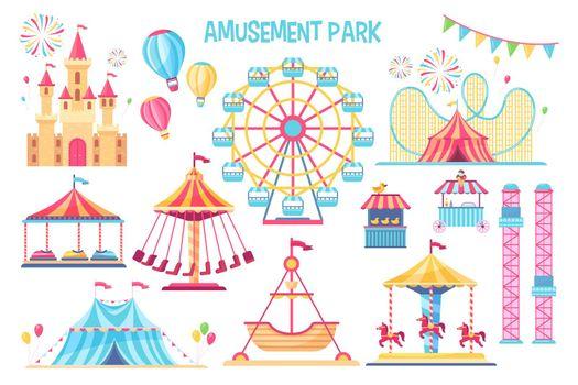 Colorful amusement park flat elements set