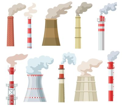 Colorful industrial chimneys with smoke