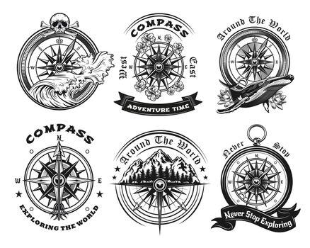 Compass tattoo templates set