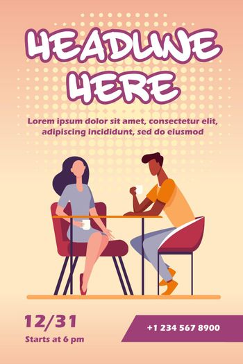 Couple dating in coffee shop
