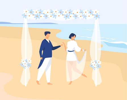 Couple getting married on tropical island