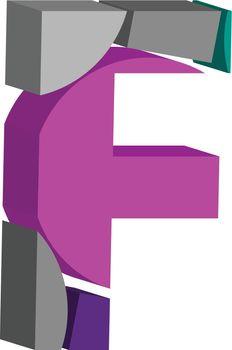 3d font letter F