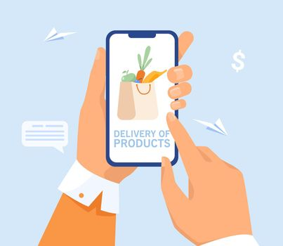 Hand of user ordering delivery from grocery store