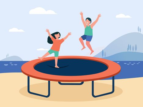 Happy children jumping on trampoline and smiling