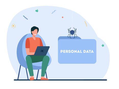 Happy hacker stealing personal data