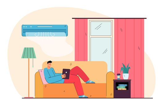 Happy house owner  lying on couch