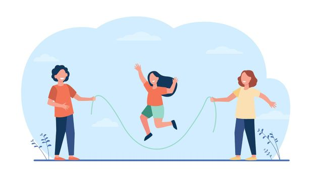 Happy kids jumping rope