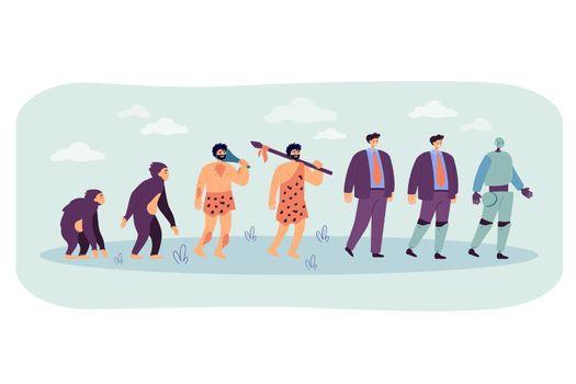 Human evolution to robot line