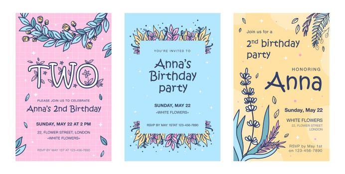 Invitation cards with flowers set