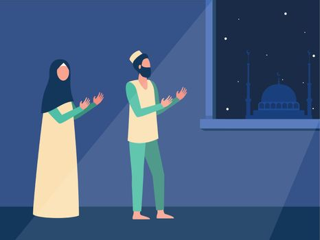 Muslim family praying at night together