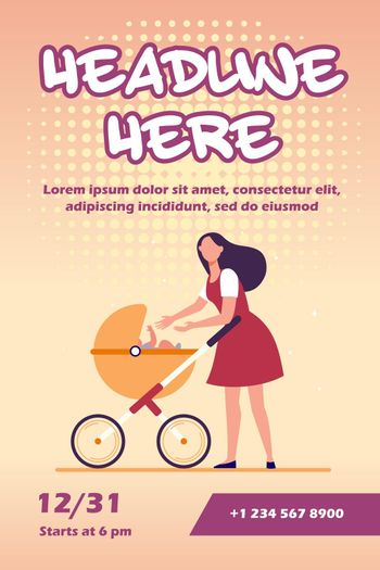 New mom walking with stroller
