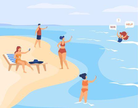 People on beach shooting drowned woman