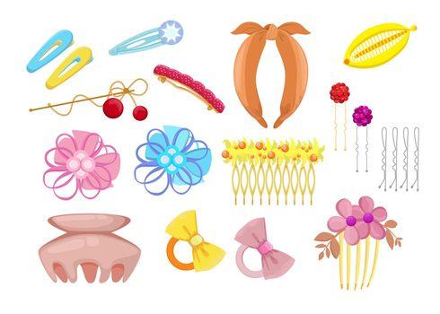 Stylish hair accessories flat illustration set