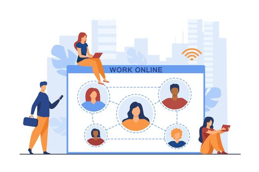 Tiny employees working online