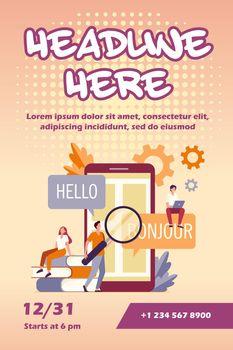 Translating app on mobile phone