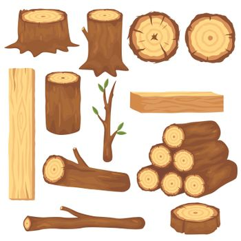 Variety of wood logs and trunks