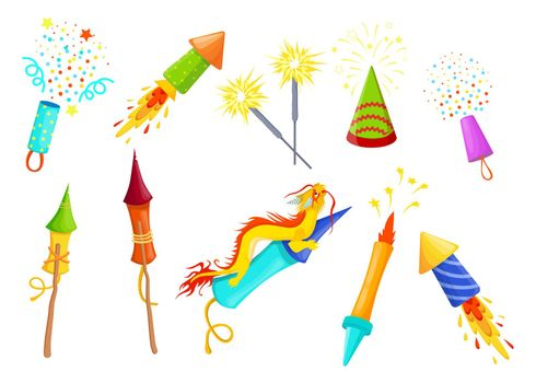 Various colorful firecrackers flat item set for web design