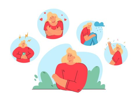 Woman in different moods and states vector illustration