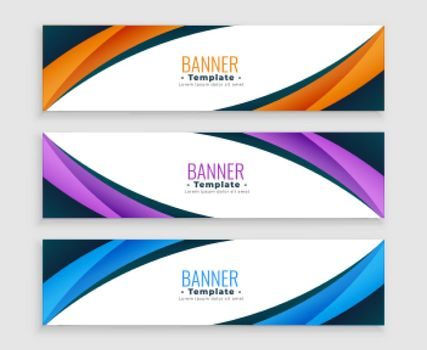 abstract wave curve business web banners set