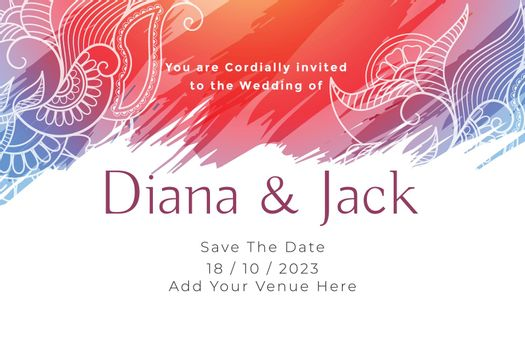 abstract wedding card invitation template design