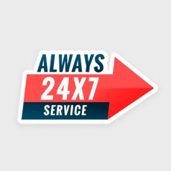 24 hours always service everyday background with arrow