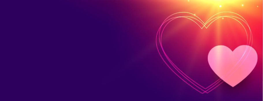 glowing hearts banner for valentines day