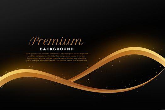 golden flowing wave on black background