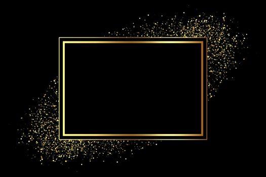 golden frame with glitter scatter