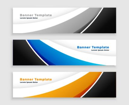 modern web wave banner set in three colors