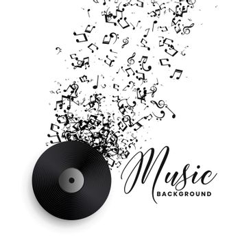 music record label vinyl with bursting notes background