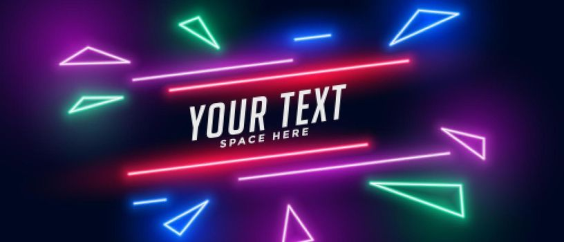 neon triangle banner with text space