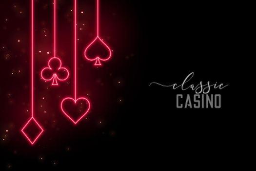red neon casino symbols background
