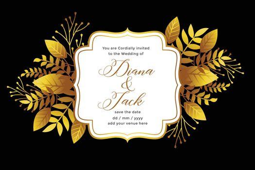 royal golden wedding invitation template design