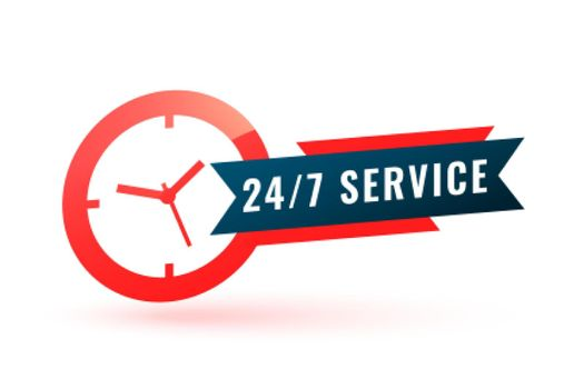 24 hours service assistance label with clock