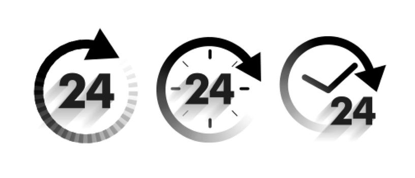 24 hours service a day icons set in arrow style