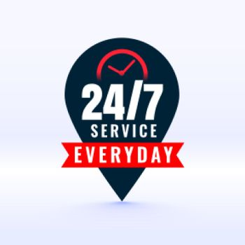 24 hours service everyday label with pointer design